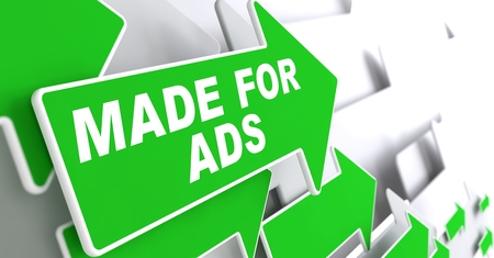 Made for Ads on Direction Sign - Green Arrow on a Grey Background. photo