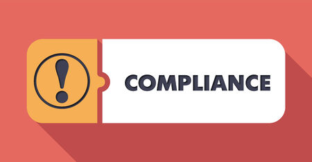 compliant: Compliance Button in Flat Design with Long Shadows on Scarlet Background.