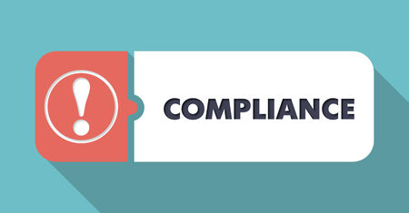 compliant: Compliance Button in Flat Design with Long Shadows on Blue Background.