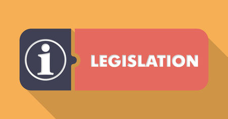 Legislation Button in Flat Design with Long Shadows on Orange Background.
