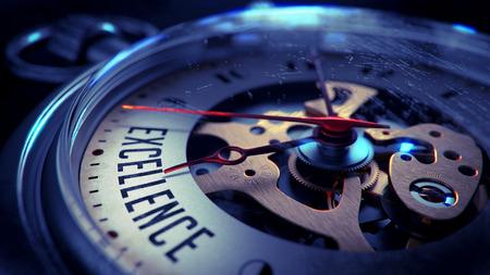 Exzellenz auf dem Pocket-Uhr-Gesicht mit Nahaufnahme von Uhrwerk. Zeit-Konzept. Vintage-Effekt. Lizenzfreie Bilder