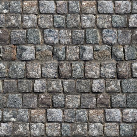 Grau Old Stone Road Oberfläche. Nahtlose Tileable Beschaffenheit.
