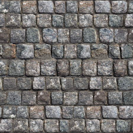 Gray Old Stone Road Surface. Seamless Tileable Texture. Stock Photo