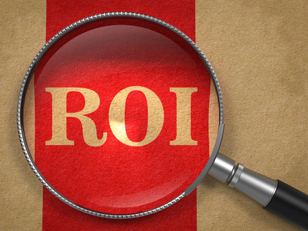 coefficient: ROI. Magnifying Glass on Old Paper with Red Vertical Line. Stock Photo