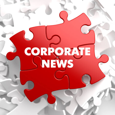 domestic policy: Corporate News on Red Puzzle on White Background. Stock Photo
