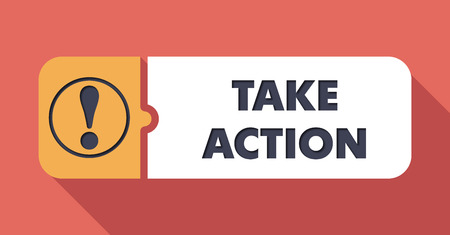 take action: Take Action Button in Flat Design with Long Shadows on Scarlet Background.