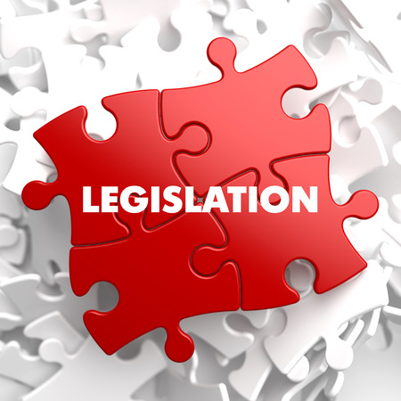 Legislation on Red Puzzle on White Background.