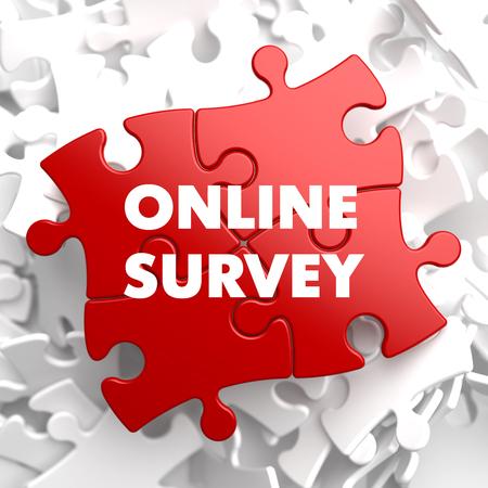 stocktaking: Online Survey on Red Puzzle on White Background.