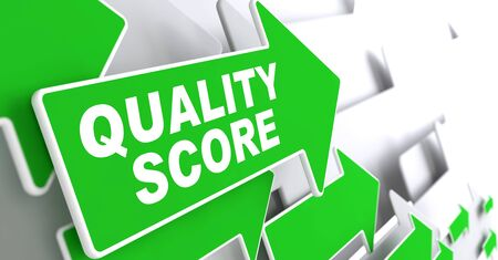 standardization: Quality Score on Direction Sign - Green Arrow on a Grey Background.