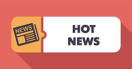 Hot News Button in Flat Design with Long Shadows on Scarlet Background. photo