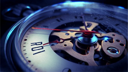 coefficient: ROI on Pocket Watch Face with Close View of Watch Mechanism. Time Concept. Vintage Effect.