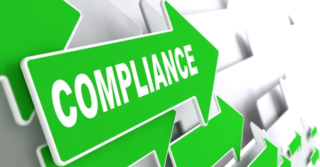 compliance: Compliance on Direction Sign - Green Arrow on a Grey Background. Stock Photo