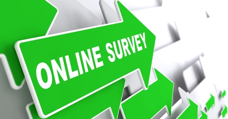 online survey: Online Survey  on Direction Sign - Green Arrow on a Grey Background.