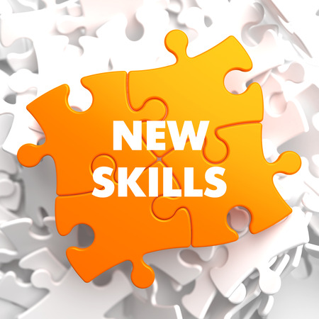 learning new skills: New Skills on Orange Puzzle on White Background.