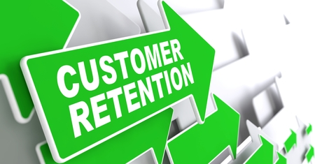 Customer Retention on Direction Sign - Green Arrow on a Grey Background. photo