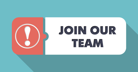 join our team: Join Our Team in Flat Design with Long Shadows on Turquoise Background.