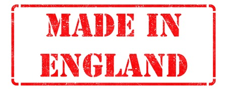 Made in England - inscription on Red Rubber Stamp Isolated on White. photo
