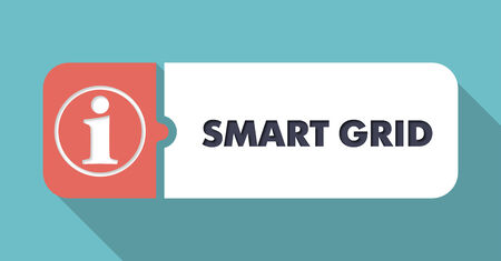 smart grid: Smart Grid in Flat Design with Long Shadows on Turquoise Background.