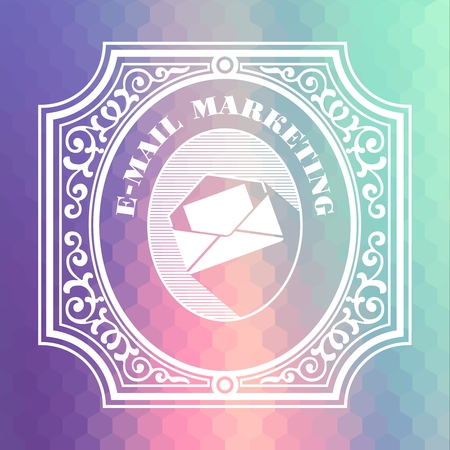 email marketing: E-Mail Marketing Concept. Vintage design. Pastels Color Flow Hexagonal Background. Stock Photo