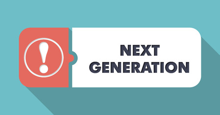 progeny: Next Generation in Flat Design with Long Shadows on Turquoise Background. Stock Photo