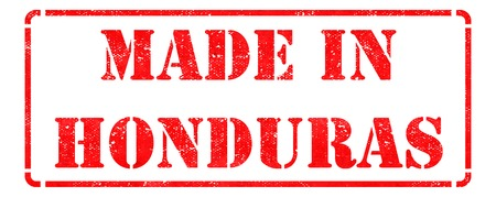 Made in Honduras - inscription on Red Rubber Stamp Isolated on White. photo