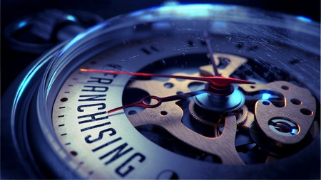 franchising: Franchising on Pocket Watch Face with Close View of Watch Mechanism. Time Concept. Vintage Effect. Stock Photo