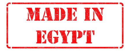 Made in Egypt - inscription on Red Rubber Stamp Isolated on White. photo