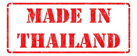 transnational: Made in Thailand- inscription on Red Rubber Stamp Isolated on White. Stock Photo