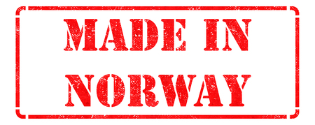 Made in Norway - inscription on Red Rubber Stamp Isolated on White. photo