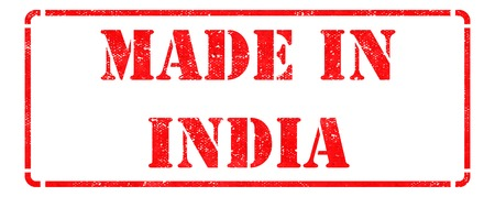 Made in India - inscription on Red Rubber Stamp Isolated on White  photo