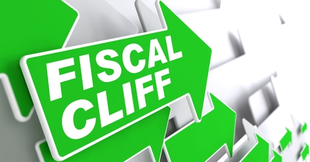 fiscal cliff: Fiscal Cliff on Direction Sign - Green Arrow on a Grey Background. Stock Photo