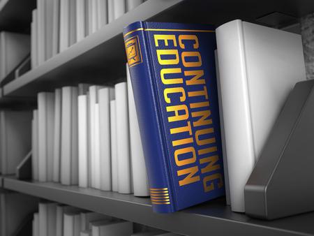 continuing education: Continuing Education  - Blue Book on the Black Bookshelf between white ones. Educational Concept.