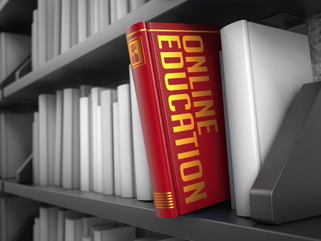 online education: Online Education  - Red Book on the Black Bookshelf between white ones. Internet  Concept. Stock Photo