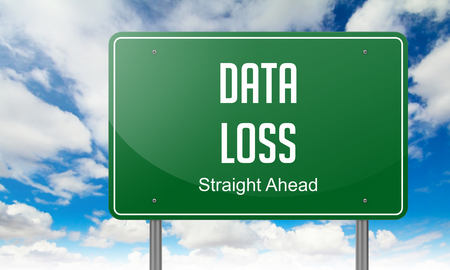 data loss: Highway Signpost with Data Loss wording on Sky Background,