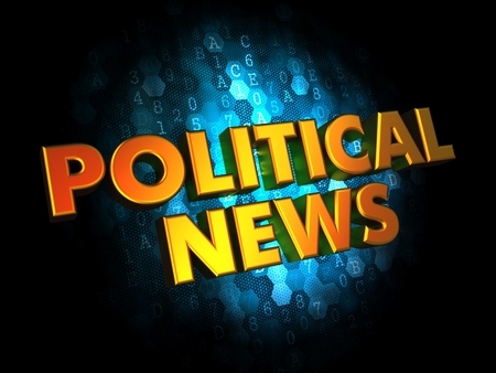 taxpayers: Political News - Gold 3D Words on Dark Digital Background. Stock Photo