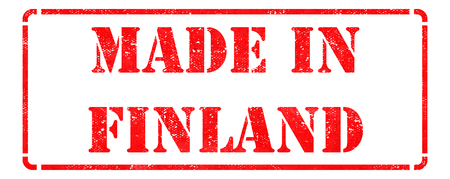 Made in Finland- inscription on Red Rubber Stamp Isolated on White. photo