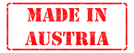 Made in Austria - inscription on Red Rubber Stamp Isolated on White. photo