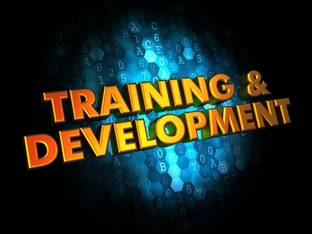 Training and Development - Golden Color Text on Dark Blue Digital Background  photo