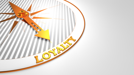 precedence: Loyalty - Golden Compass Needle on a White Background