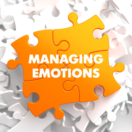 Managing Emotions - Yellow Puzzle On White Background  Stock Photo