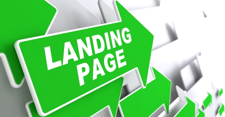 Landing Page  Green Arrows with Slogan on a Grey Background Indicate the Direction  photo