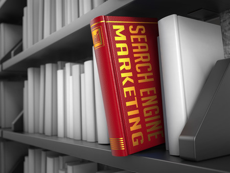 cpc: Search Engine Marketing - Red Book on the Black Bookshelf between white ones  Stock Photo
