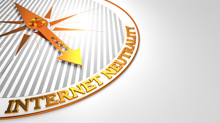 discriminating: Internet Neutrality - Golden Compass Needle on a White Background