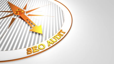 reassessment: Seo Audit - Golden Compass Needle on a White Background  Stock Photo
