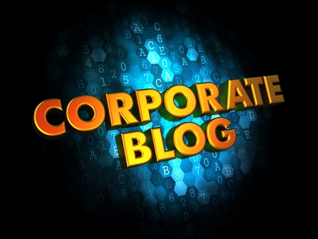 domestic policy: Corporate Blog Concept - Golden Color Text on Dark Blue Digital Background