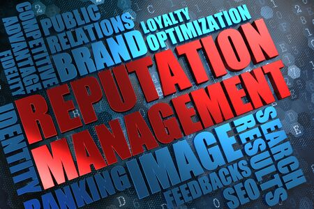 Reputation Management - Red Main Word with Blue Wordcloud on Digital Background  photo