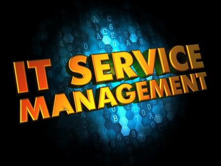 end user: IT Service Management Concept - Golden Color Text on Dark Blue Digital Background