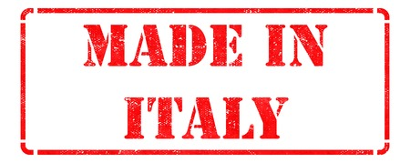 Made in Italy inscription on Red Rubber Stamp Isolated on White  photo