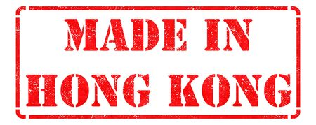 Made in Hong Kong - inscription on Red Rubber Stamp Isolated on White  photo