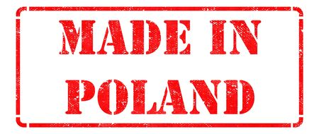 Made in Poland inscription on Red Rubber Stamp Isolated on White  photo